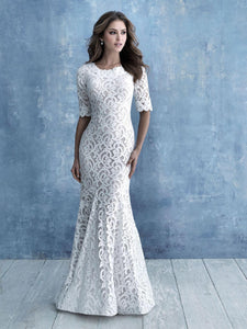 Allure M638 modest wedding dress with long sleeves lace sheath LDS bridal for plus size brides