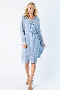 Serena Swiss Dot Dusty Blue Midi Dress