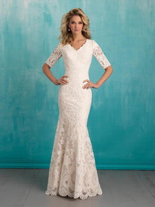 Allure Bridals M551 Modest Wedding Dress with sleeves 3/4 elegant lace bridal gown LDS
