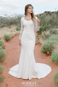 TR12023  LDS modest wedding dresses lace long sleeves fit and flare lace over stretch jersey bridal gown for plus size front view