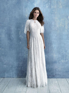 Allure M634 modest wedding dress with boho long sleeves conservative LDS bridal gown for plus size brides