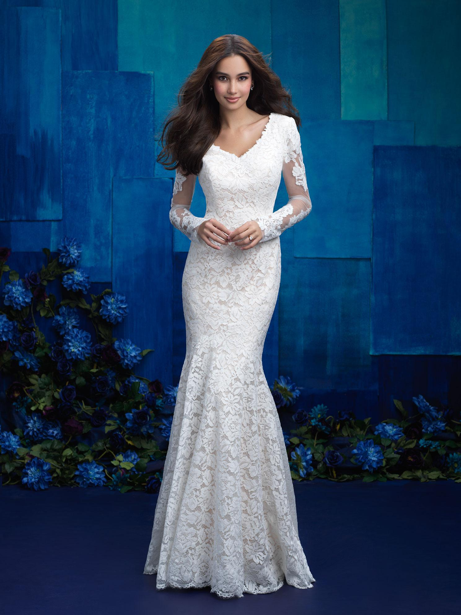 M571 Modest wedding dress long lace sleeves fit and flare design stunning chapel train LDS temple wedding dress