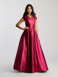 MJ 20-507M burgundy sparkle Modest Prom Dress Ball Gown for plus size LDS formal