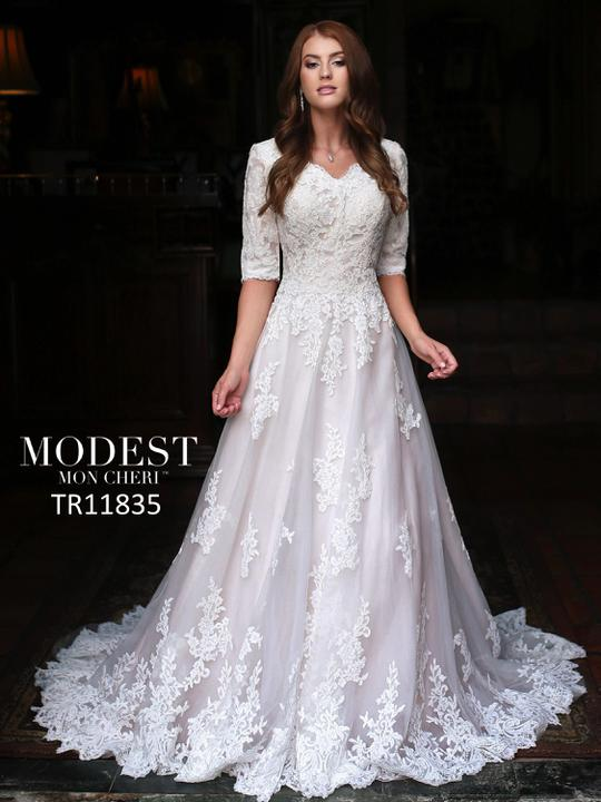 Mon Cheri TR11835 Modest Wedding Dress from A Closet Full of Dresses