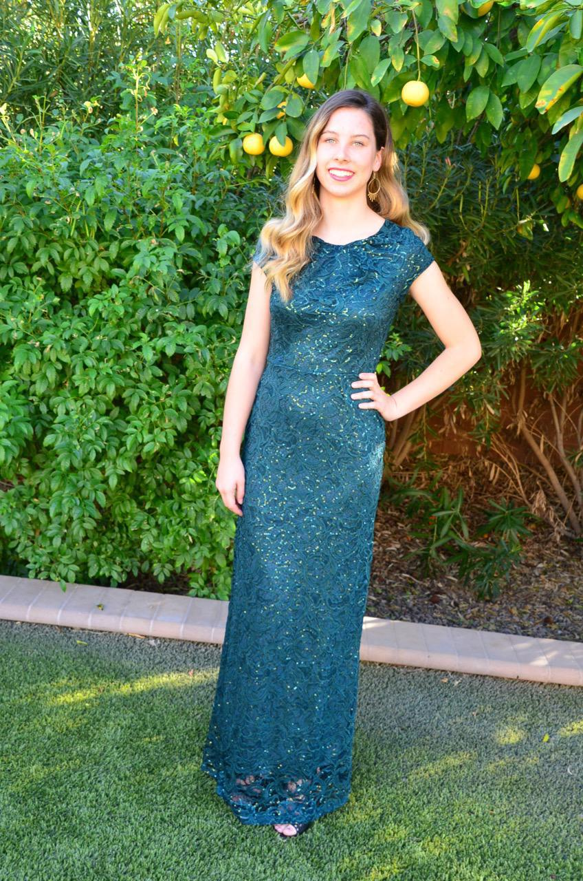 Ella Hunter Green Modest Prom Dress with sleeves mormon prom cheap dress for plus size