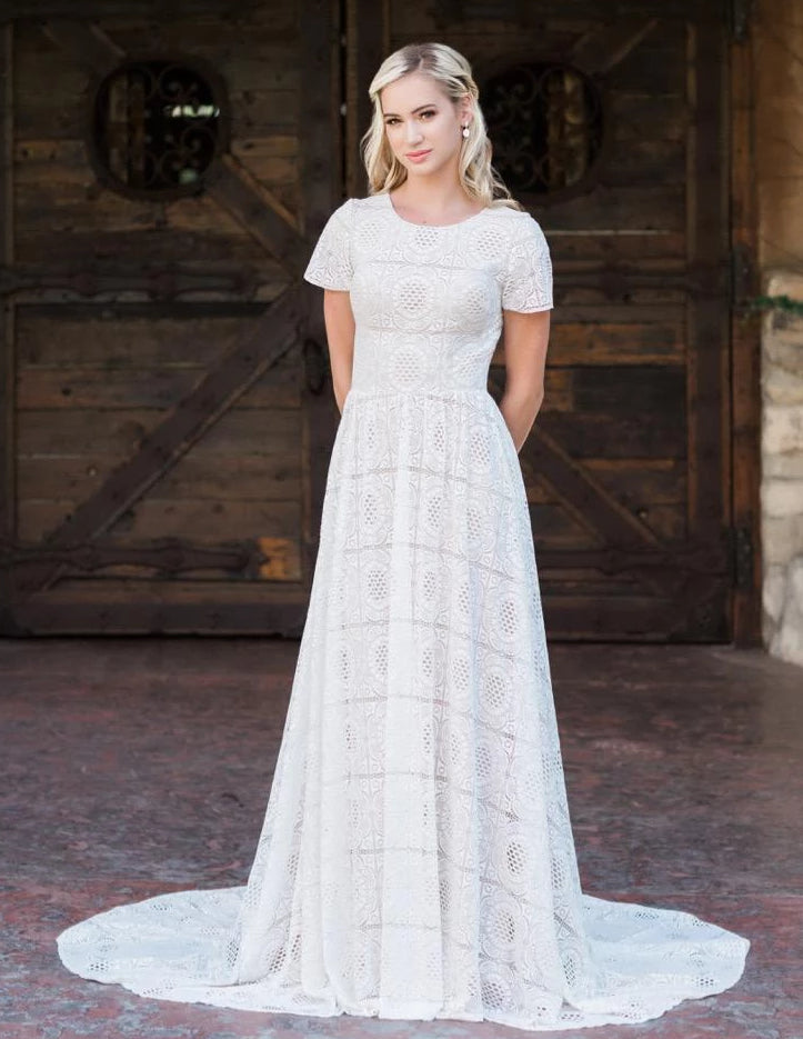 T1992Z Modest lace Wedding Dress with sleeves one of a kind temple bridal gown