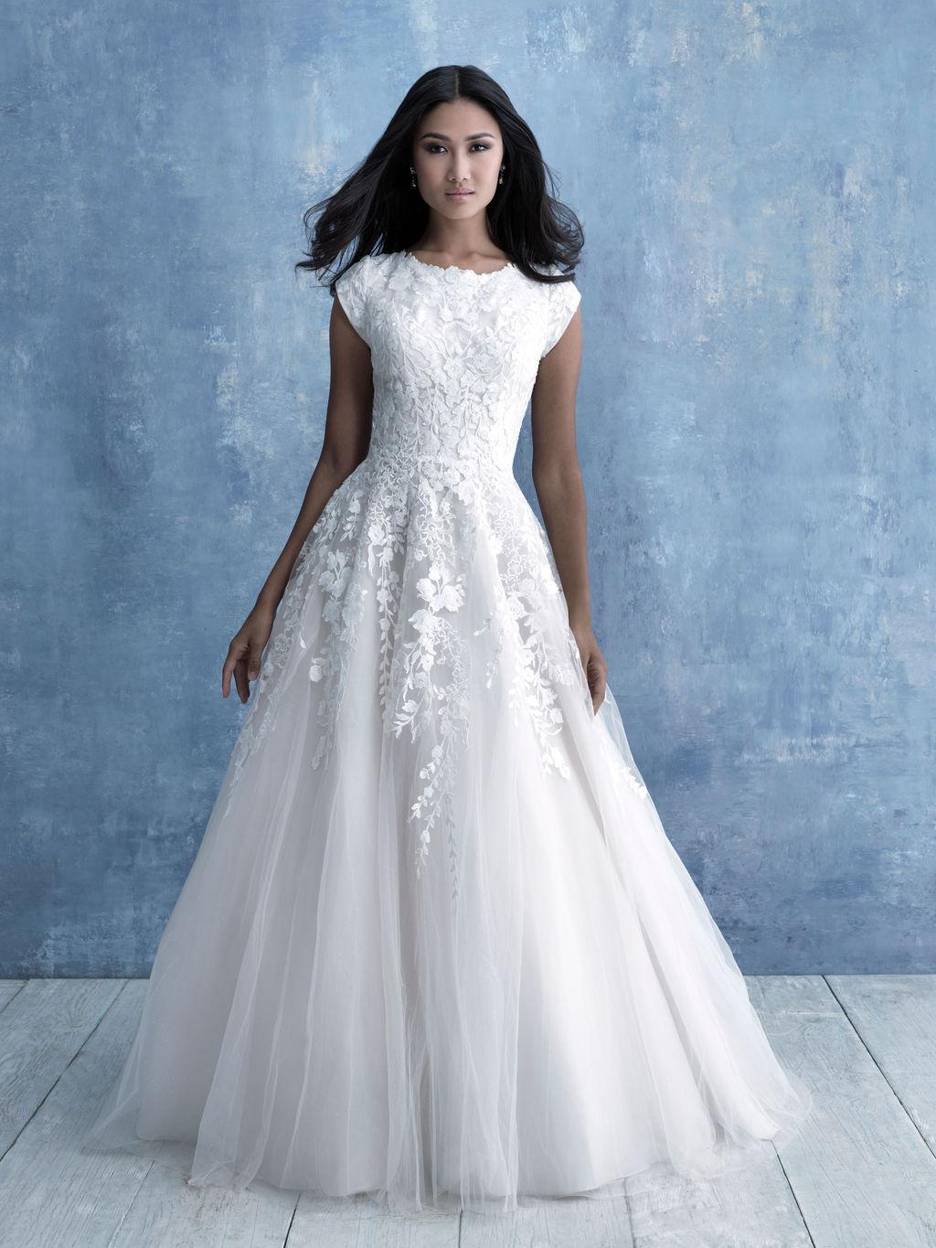 Allure M635 modest wedding dress ball gown with sleeves lace ballgown full tulle LDS bridal for plus size