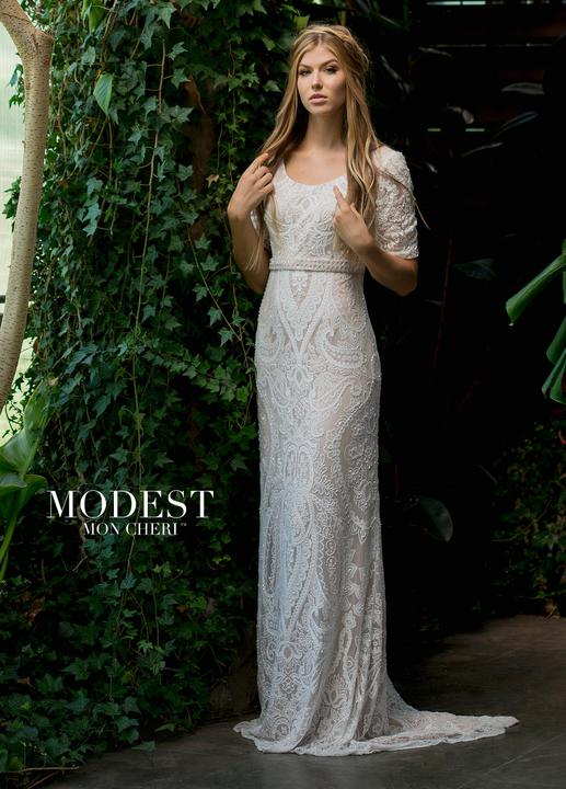 Mon Cheri TR11833 Modest Wedding Dress from A Closet Full of Dresses