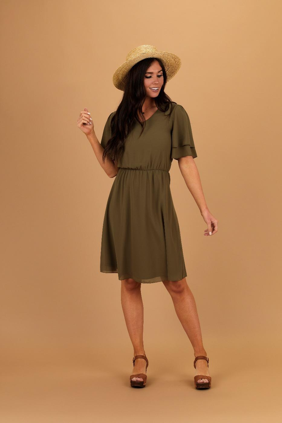 Claire Olive Modest Casual Dress from A Closet Full of Dresses