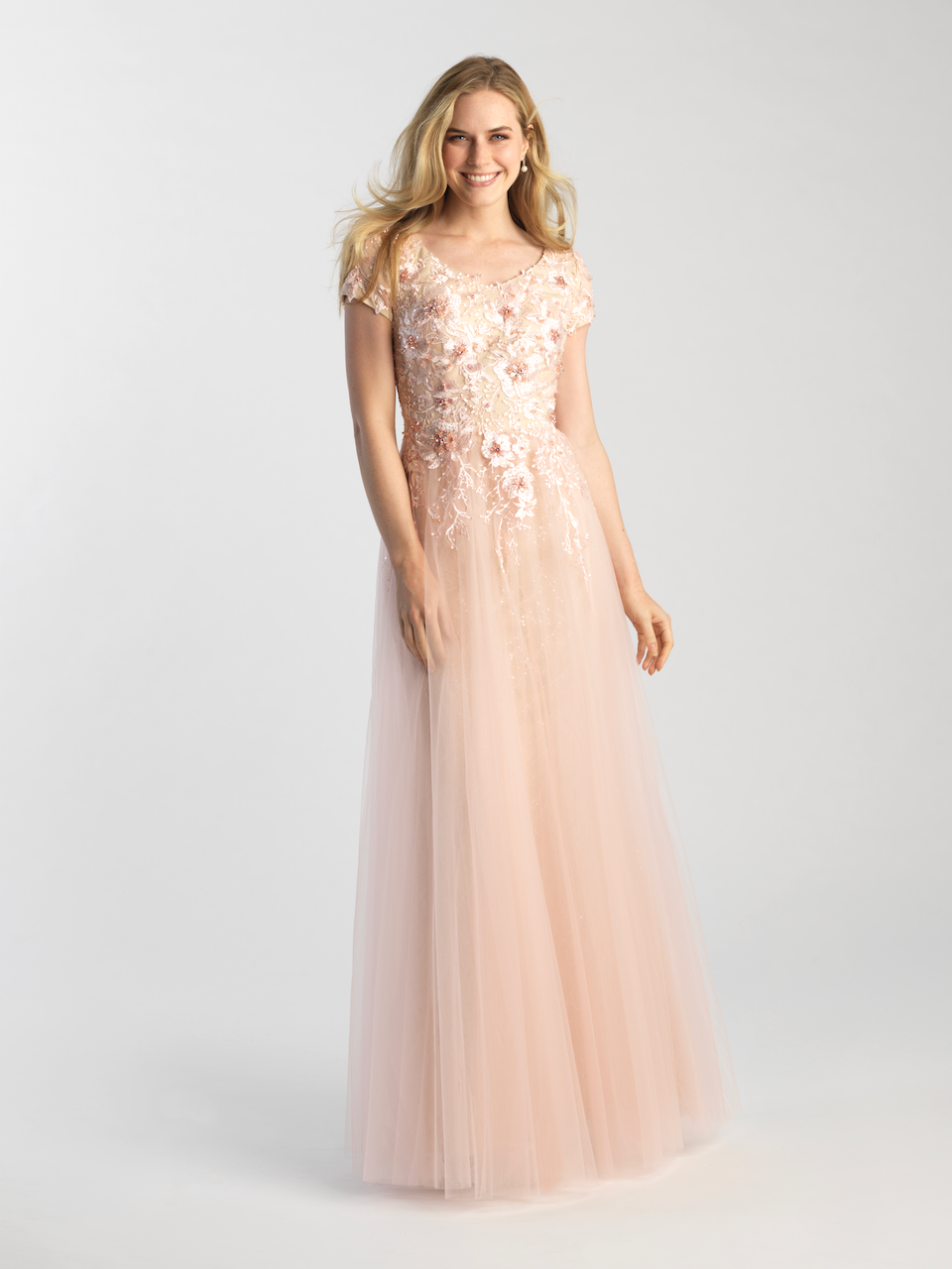 MJ 20-505 pink modest prom dress with sleeves lace LDS formal gown for plus size
