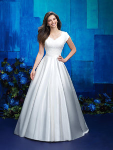 M575 modest wedding dress with sleeves lace satin temple bridal gown