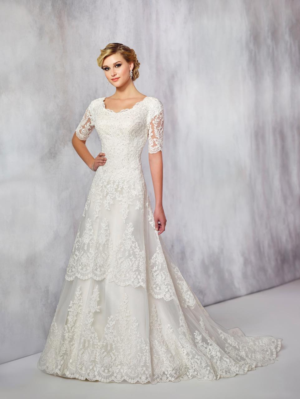 TR21715 modest lace wedding dress with elbow length sleeves