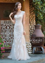 Mon Cheri TR11837 Modest Wedding Dress from A Closet Full of Dresses