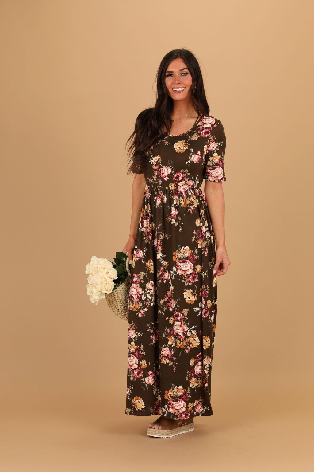 Miranda Olive Mustard Modest Maxi Dress from A Closet Full of Dresses