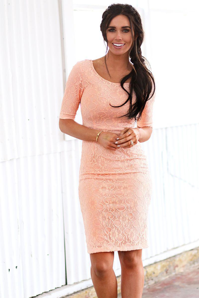 June Bridal Blush Lace Modest Bridesmaids Dress