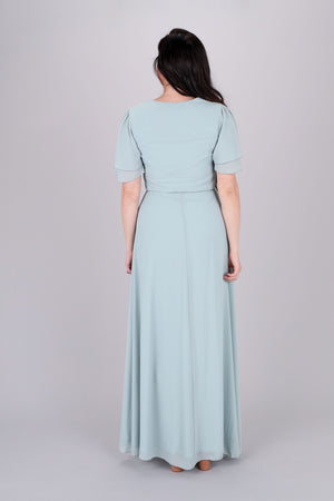 Chloe Sage Modest Maxi Bridesmaids Dress Back from A Closet Full of Dresses