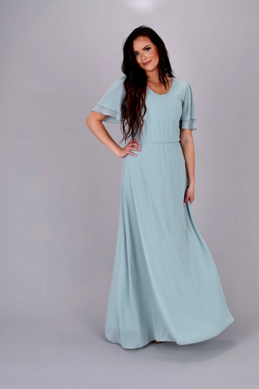 Chloe Long Chiffon Maxi Dress in dark Sage Color modest casual bridesmaids with sleeves