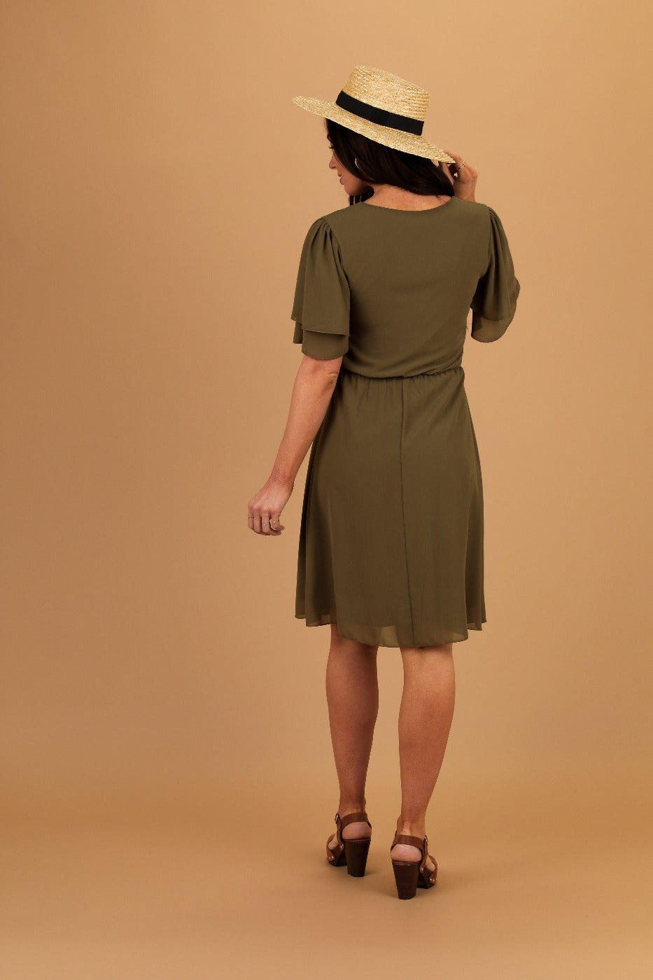 Claire Olive Modest Casual Dress Back from A Closet Full of Dresses