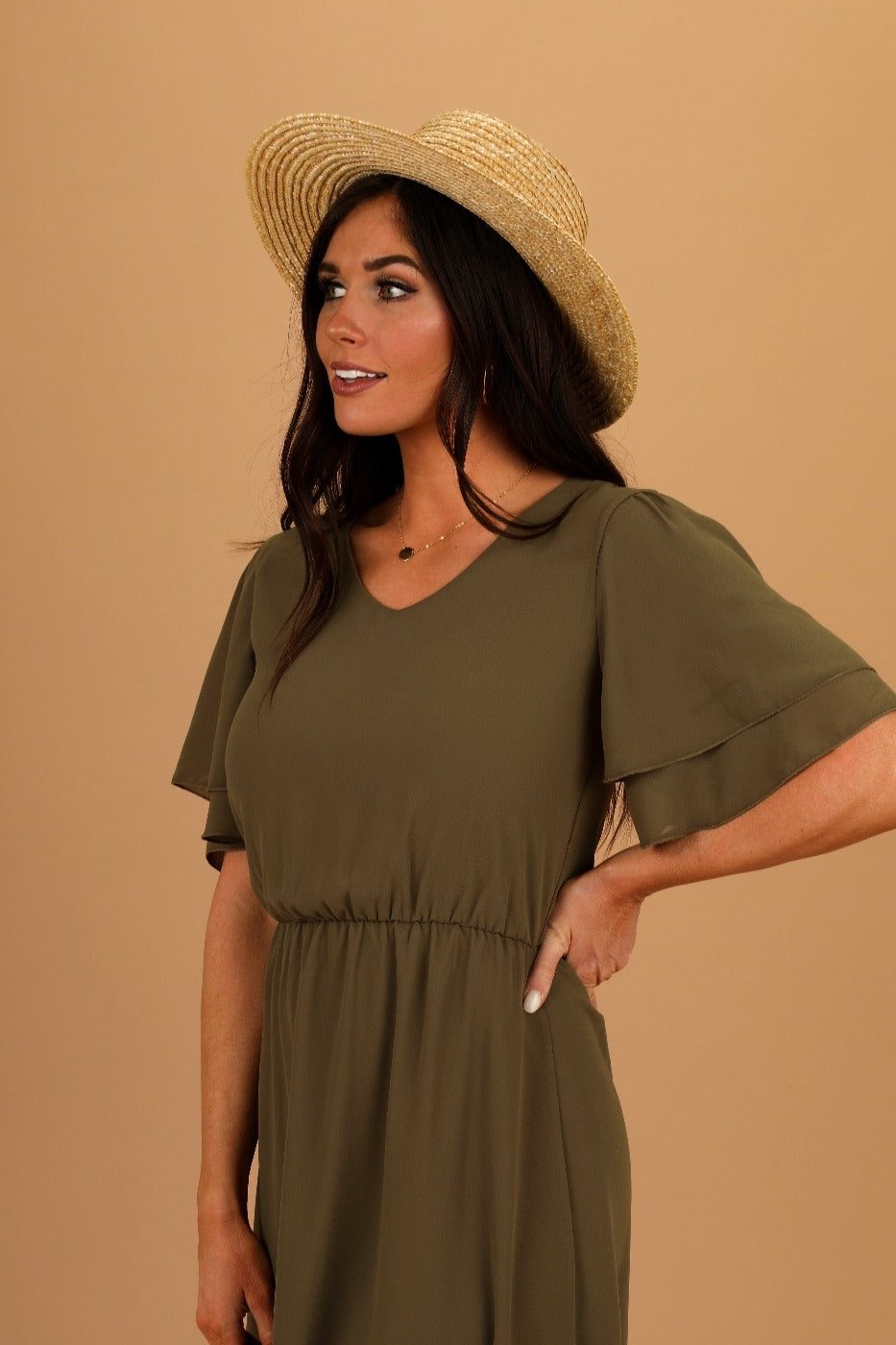 Claire Olive Modest Casual Close Back from A Closet Full of Dresses