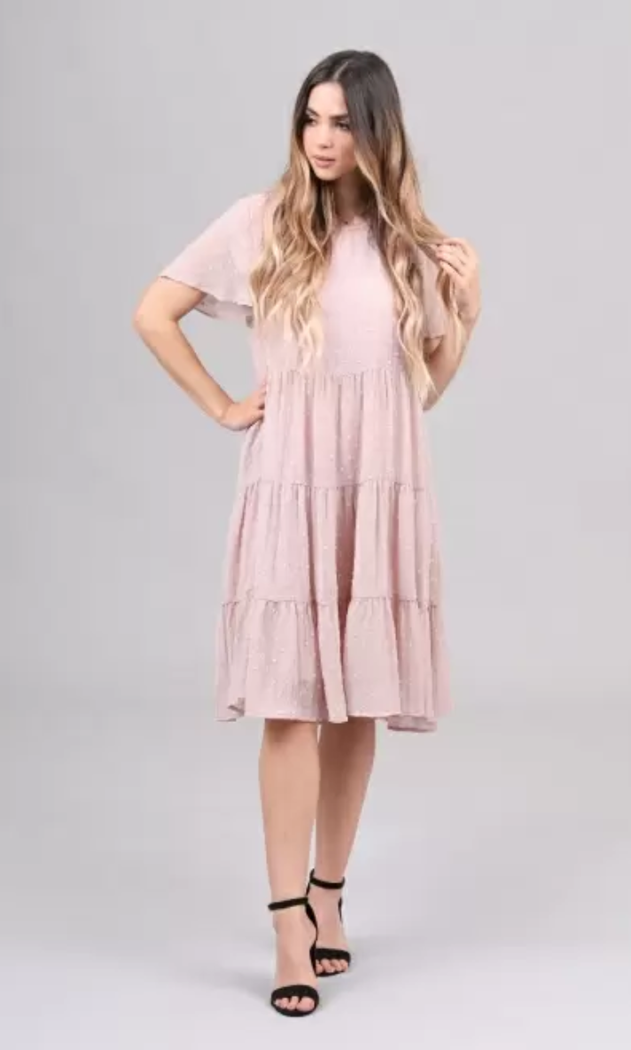 hannah pale rose swiss dot casual modest dress with sleeves