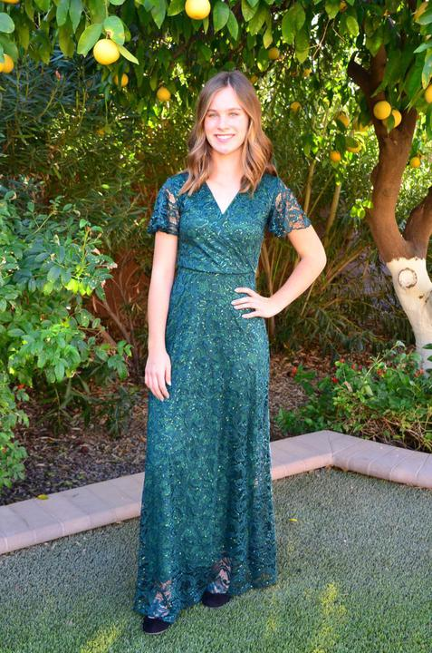 Kendall hunter green cute Modest Prom Dress with sleeves mormon prom cheap dress for plus size winter formal