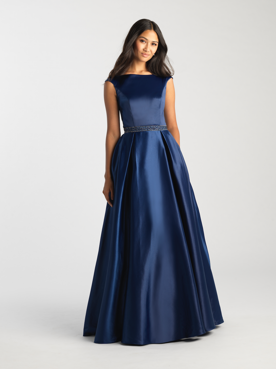 MJ 20-506M Navy Modest Prom Dress Ball Gown for plus size LDS formal