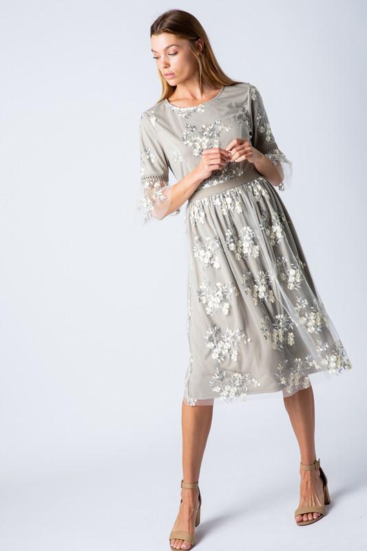 Mallory Grey Floral Casual Modest Dress from A Closet Full of Dresses
