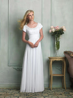 Allure M516 Modest Wedding Dress with sleeves simple bridal gown LDS cheap