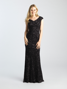 MJ 20-502M modest sparkle black prom dress with sleeves works for plus size LDS formal gown