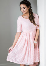 Emmy Bridal Pink Lace Bridesmaids Dress
