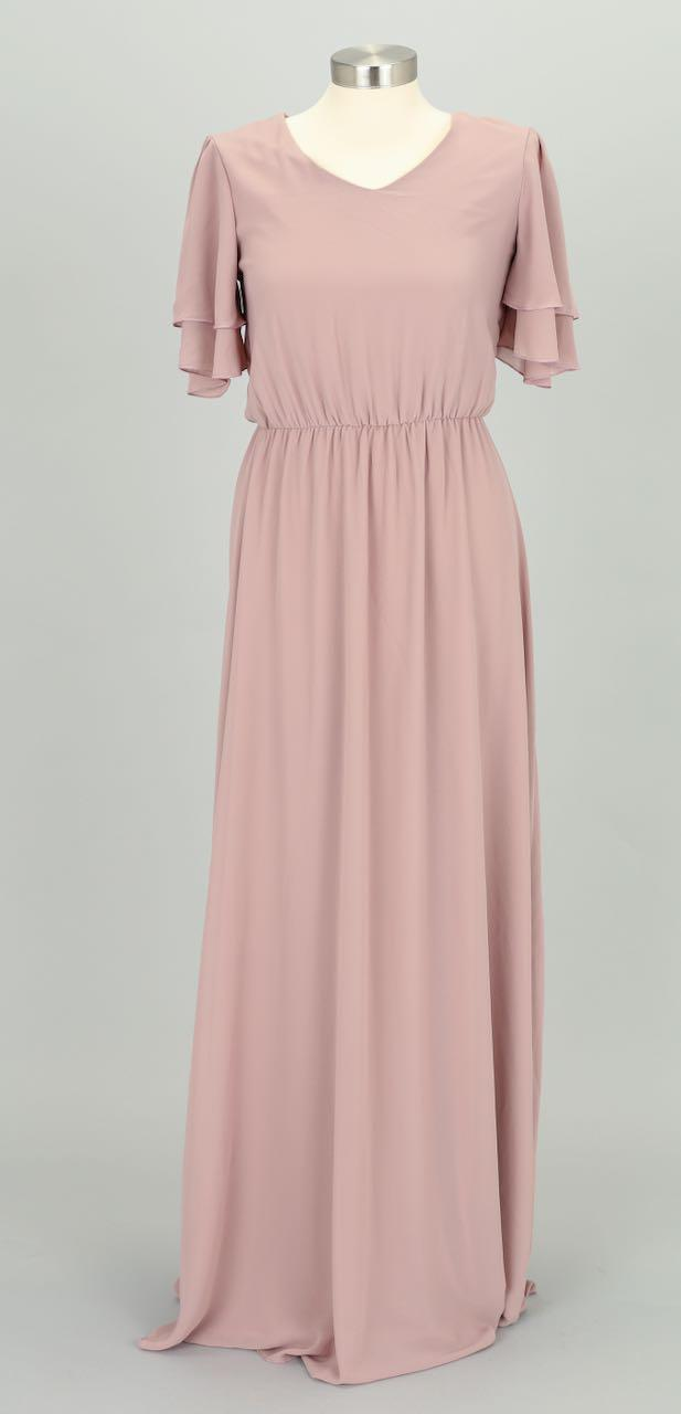 Chloe Long Chiffon Maxi Dress Dusty Lilac Front from A Closet Full of Dresses