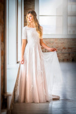 Mon Cheri TR21903 Modest Wedding Dress from A Closet Full of Dresses