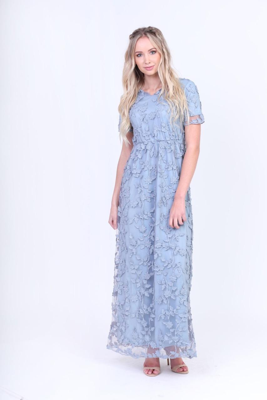 Kinsley Dusty Blue Modest Maxi Dress from A Closet Full of Dresses