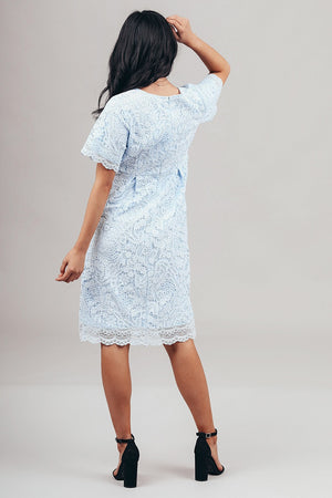 Demi Blue modest lace casual dress 3/4 sleeves knee length for church or bridesmaids back