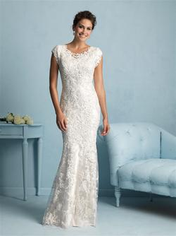 Allure Bridals M536 Modest Wedding Dresses with sleeves elegant lace fitted style LDS