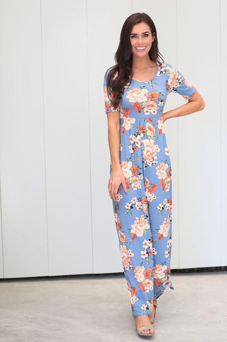 Miranda Chambray Coral Modest Maxi Dress from A Closet Full of Dresses