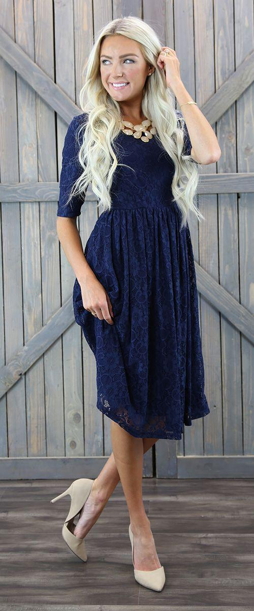 Emmy Navy lace Modest Bridesmaids Dress 3/4 sleeves plus size cheap