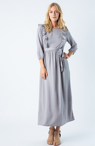 Kylie midi modest dress with long sleeves grey for plus size