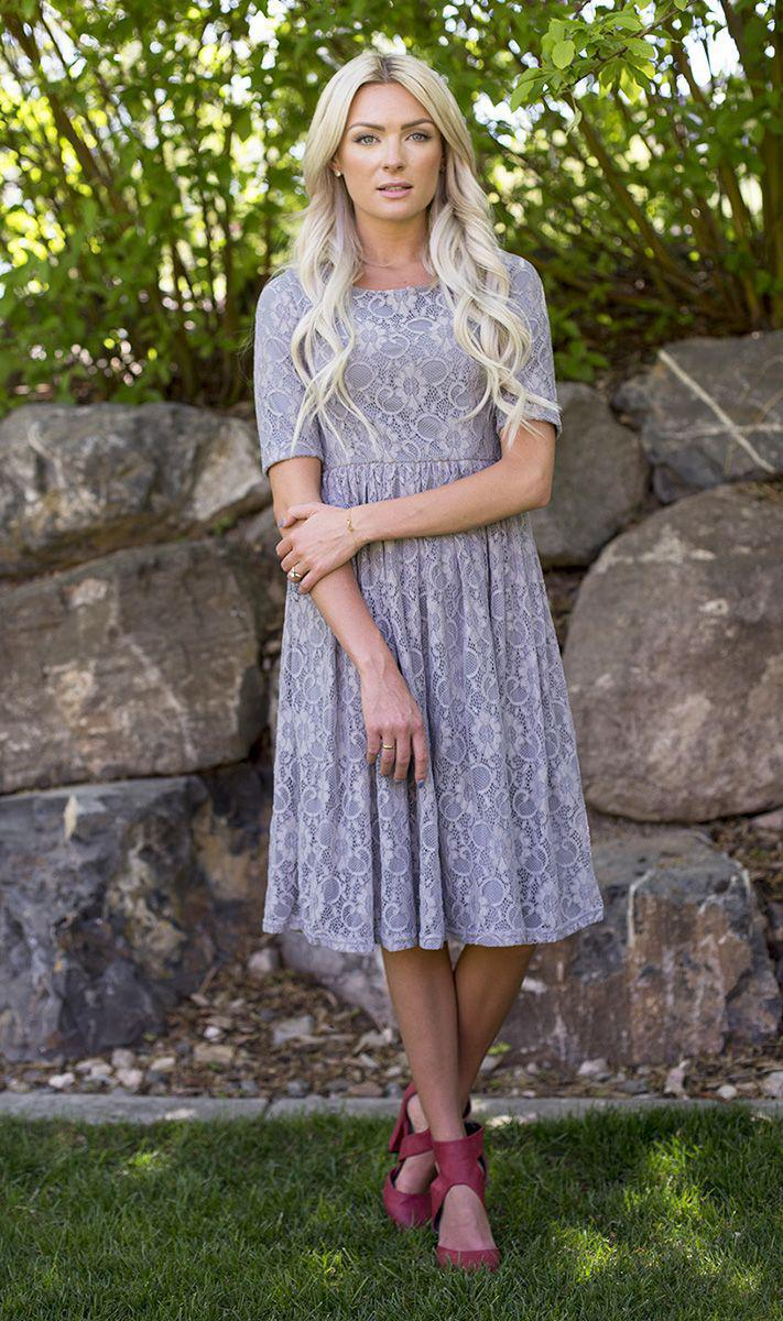 Emmy slate grey modest lace bridesmaids dress plus size cheap