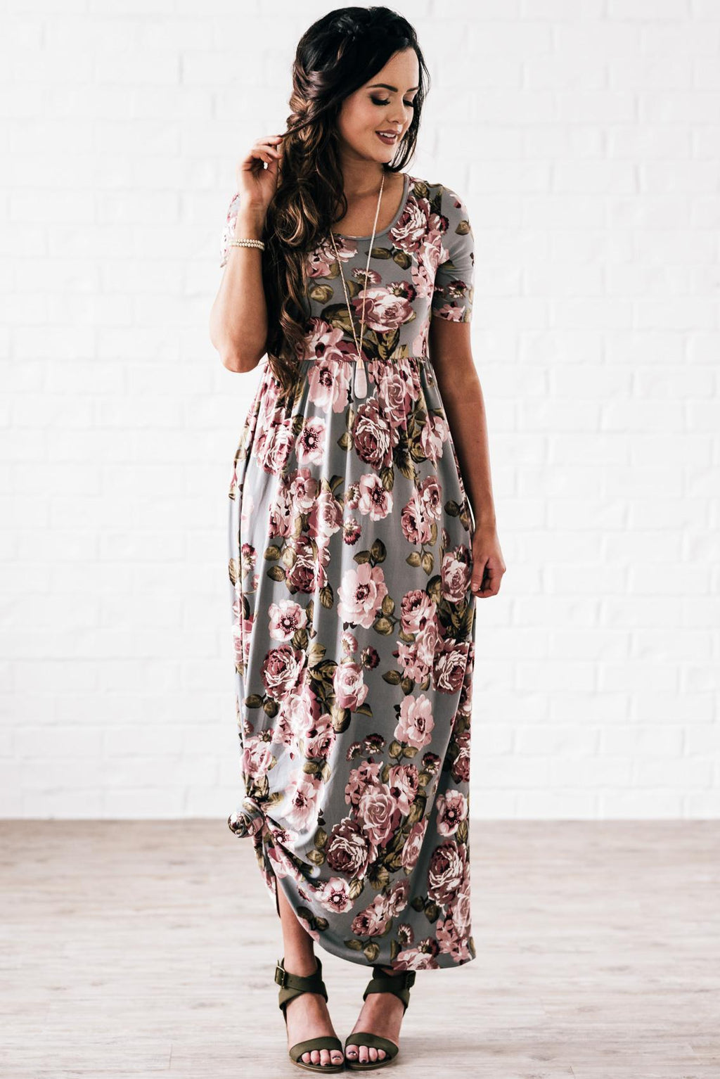 Miranda Grey Floral Modest Maxi Dress from A Closet Full of Dresses