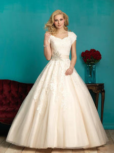 Allure Bridals M544 Modest Wedding Ballgown with sleeves elegant lace silver belt for plus size LDS