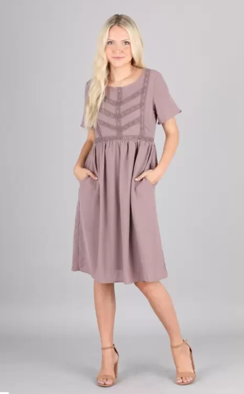 Kate modest casual dress with sleeves knee length lilac color