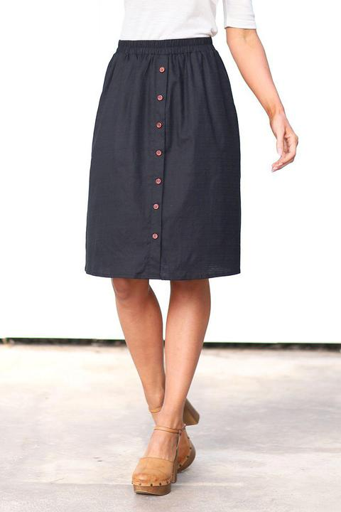 Mikarose Black Button Up Modest Skirt close from A Closet Full of Dresses