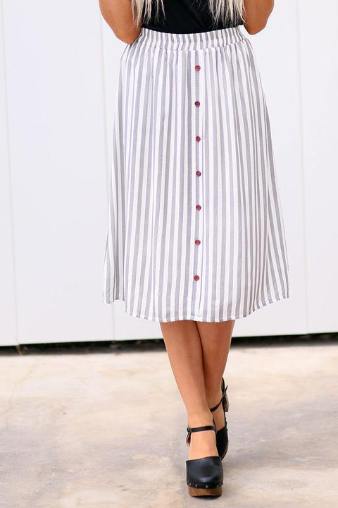 Mikarose Stripe Button Skirt close from A Closet Full of Dresses