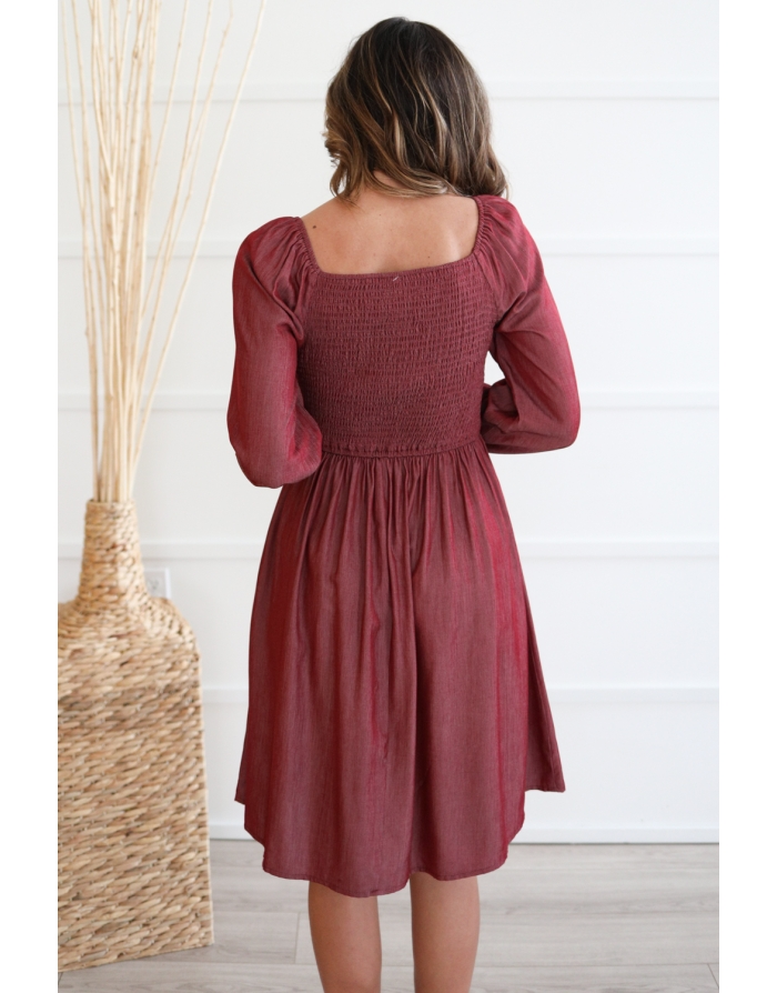 Juliet Frosted Cranberry Smocked Dress
