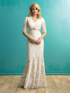 Allure Bridals M546 Modest Wedding dresses with 3/4 sleeves elegant lace silver belt for plus size LDS