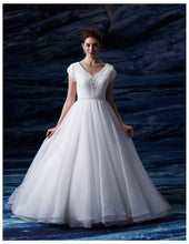 Load image into Gallery viewer, Venus Bridal TB7677 White Modest Wedding Dress from A Closet Full of Dresses