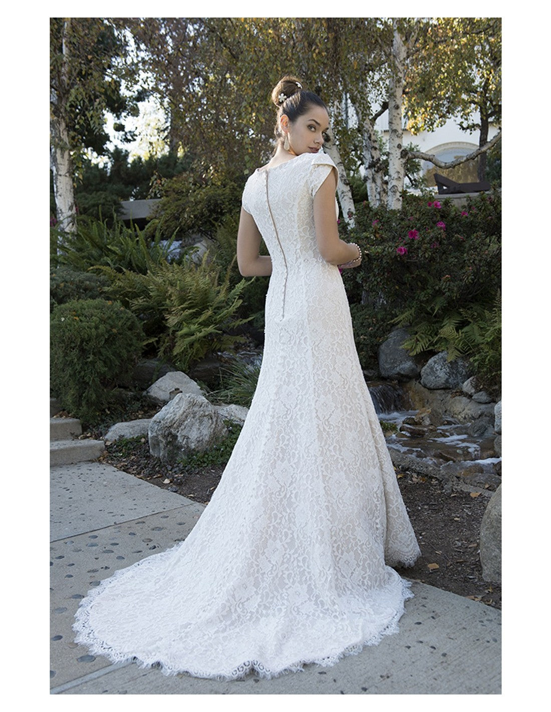 TB7697 modest wedding dress with cap sleeves sweetheart neckline lds temple bridal gown back view
