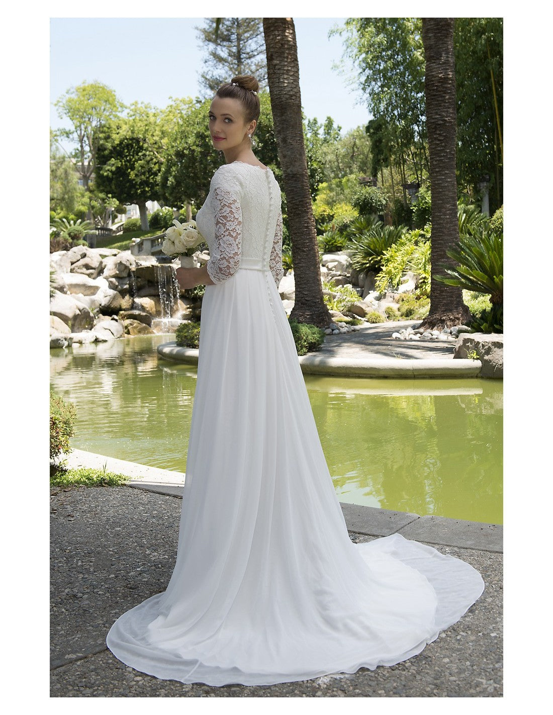 Venus Bridal TB7715 Modest Wedding Dress back from A Closet Full of Dresses
