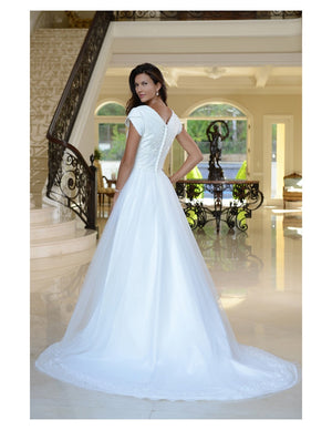 Venus Bridal TB7743 Modest Wedding Dress back from A Closet Full of Dresses